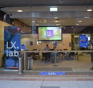 The glass front doors of the LX.lab