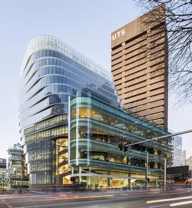 The glass-encased UTS Central on Broadway, next to the UTS Tower
